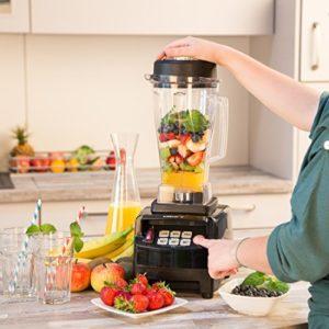Küchenmixer Test Ultratec Professioneller Standmixer (2,0 Liter, 1500 Watt, 6 Edelstahlmesser, inkl. Stößel und Smoothie Rezeptbuch), schwarz - 2