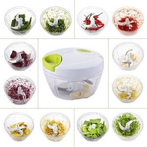 MKQPOWER, Neues Modell, 3 Klingen, Obst - und Gemüse -Zerkleinerer, Universal-Zerkleinerer, Gemüse-Hacker kompakt und scharf, perfekt zum Zerkleinern von Obst und Gemüse sowie für Salsa, Salate, Dips, Pesto uvm. - 4