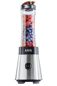Mixgerät Test AEG PerfectMix SB 2400 Mini Mixer mit 0,4 PS-Power-Motor (bis zu 23.000 U/min, 4 Edelstahlmesser, bruchfeste 0,6 l BPA-freie Tritan-Trinkflasche, Standmixer mit gebürstetem Edelstahlgehäuse)